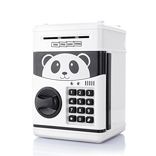 (TOPBRY Cartoon Piggy Bank Cash Coin Can Password Electronic Money Bank Safe Saving Box ATM Bank Safe Locks Panda Smart Voice Prompt Money Piggy)