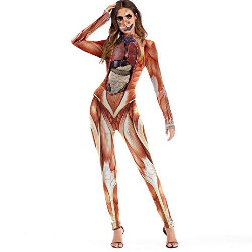 JOFOW Women Jumpsuit,Halloween Costume Scary 3D Bone Zombie Skeleton Blood Muscle Print Skinny Elastic Rompers Women (M,Red)