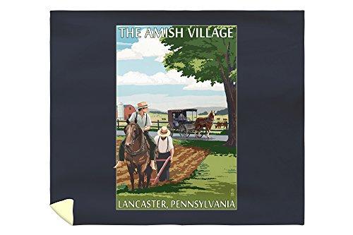 Lancaster County, Pennsylvania - Farm Scene - Barn Raising Scene (88x104 King Microfiber Duvet Cover) (Raising Barn Quilt)
