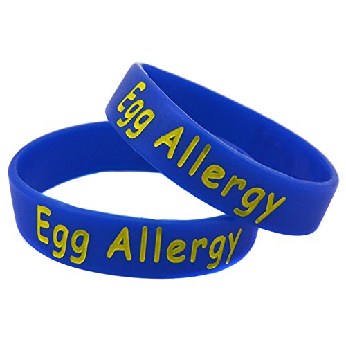 Price comparison product image LiFashion LF 2Pcs Children Blue Silicone Egg Allergy Wristband Medical Alert Awareness Food Allergies Rubber Bracelets Pack Sos Emergency for Girls Boys Kids,Pack of 2