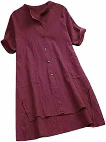 ac7010cb Domple Women's Cotton Linen Plus Size Solid Color High Low Summer Button Up  Shirt Dress