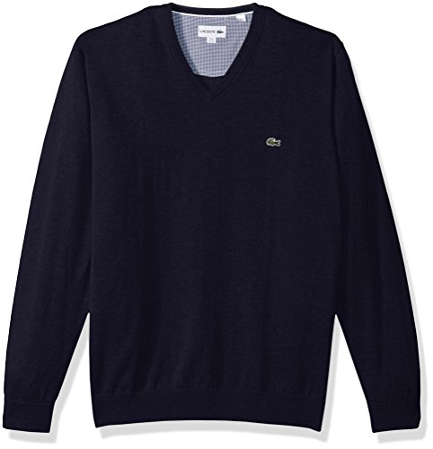 Lacoste+Men%27s+V+Neck+Cotton+Jersey+Sweater+with+Green+Croc%2C+Navy+Blue%2C+5