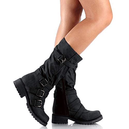 Hunleathy Women's Mid Calf Boots Buckles Combat Riding Boots Size 8 Black by Hunleathy (Image #4)