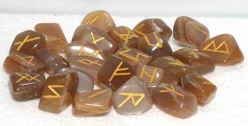 Azuregreen Fortune Telling Toys Rune Stone Sets Elder Futhark with Single Blank Divination Moonstone Gemstones