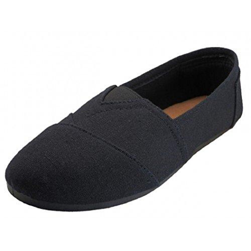 Easy USA Womens Canvas Slip On Shoes Flats, 11 B(M) US,B/B 308L