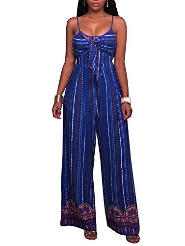 SheKiss Women's Sexy Spaghetti Strap Striped High Waist Wide Leg Long Pants Palazzo Jumpsuit Rompers Ladies Outfits Blue by SheKiss