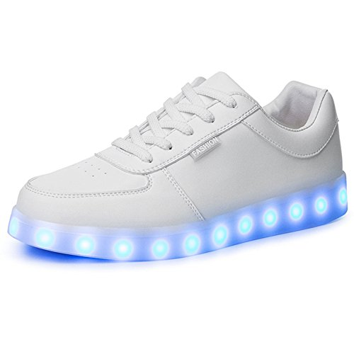 Miss Cutie Women & Men Unisex LED 7 Color Lights Chargable Flashing Fashion Sneakers 40 White