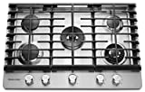 KITCHENAID KCGS950ESS 30' Wide Gas Cooktop with Griddle, 5 Sealed Burners, Even-Heat 10K BTU Torch Burner, 17K BTU Professional Dual Ring Burner, Electronic Ignition, Lighted Knobs in Stainless Steel