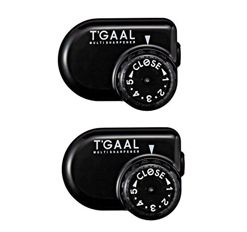 Kutsuwa STAD Angle Adjustable Pencil Sharpener T'GAAL, Black (RS017BK) (2 Set)