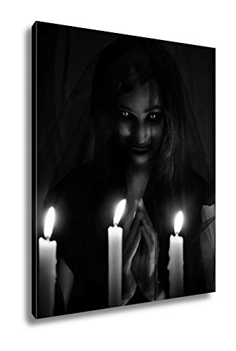 Ashley Canvas Salem Witch Invoking Demons Into The Churc On Halloween, Wall Art Home Decor, Ready to Hang, Black/White, 20x16, AG6085801 by Ashley Canvas