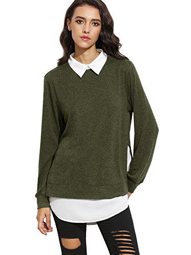 Long Sleeve Pullover - Romwe Women's Classic Collar Long Sleeve Curved Hem Pullover Sweatshirt Green XL