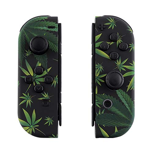 eXtremeRate Soft Touch Grip Green Weeds Joycon Handheld Controller Housing with Full Set Buttons, DIY Replacement Shell Case for Nintendo Switch Joy-Con - Console Shell NOT Included