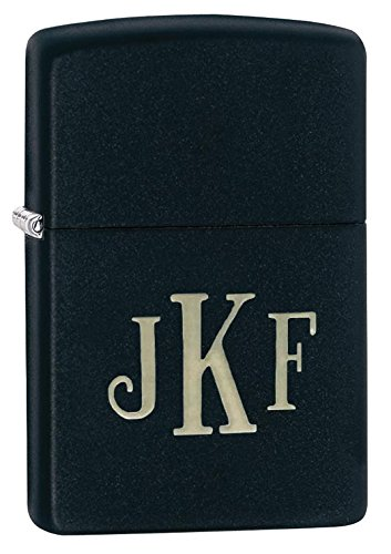 Personalized Zippo Black Matte Lighter with Free Monogram