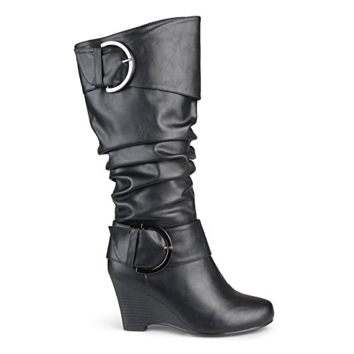 Co Tall Wide 11 Brinley Boots Extra Black US Calf Womens Buckle Leather Faux dfwqtw