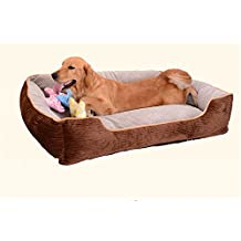 BigBig Home Super Soft Stripe Corduroy Washable Dog Bed, Filled with PP Cotton.5 Sizes Available(Brown&Gray)