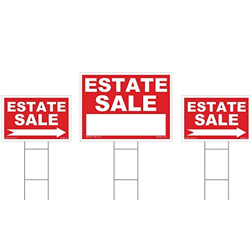 3-Pack Estate Sale Sign Kit - Double Sided Signs & with H-Stakes - Red Property Signs 18
