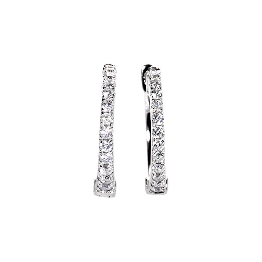 14K White Gold Diamond Hoop Earrings AER 9834W