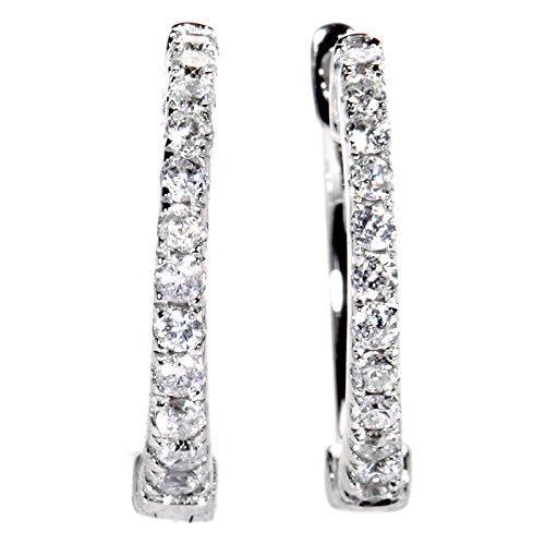 "Stunning 0.22 Carats (ctw) Diamond Hoop Earrings in 14K White Gold; 1/4 CT Brilliant White Diamonds (G Color, SI1 SI2 Clarity) in 0.5"" Huggies"