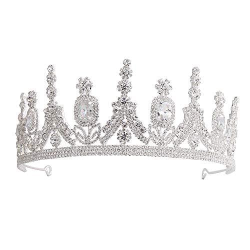 WANZIJING Vintage Crystal Pearl King Queen Crown, Rhinestone Wedding Tiaras Metal Lace Headband for Women Prom,A -