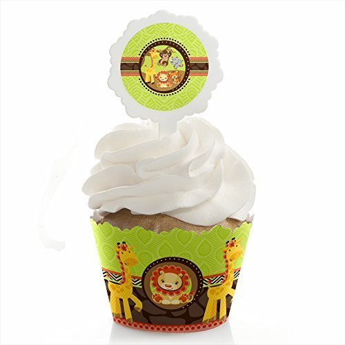 Big Dot of Happiness Funfari - Fun Safari Jungle - Baby Shower or Birthday Party Cupcake Wrapper and Pick - Cupcake Decorating Kit - Set of 24 by Big Dot of Happiness