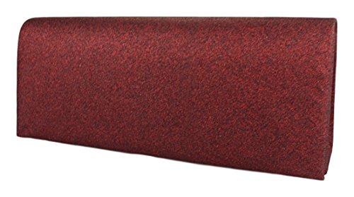 Pochette HL3030 ed paillettes in semplice elegante sera Borsa da Dunkelrot raso donna ZrxgPqZ
