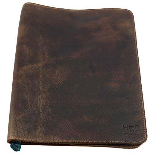 (Rustic Leather Refillable Journal Cover for Moleskine Cahier XL (7.5 x 9.75 in.) w/Típico Strap Handmade by Hide & Drink :: Bourbon Brown)
