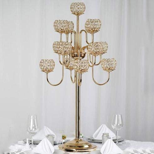 BalsaCircle 40-Inch Tall Gold Crystal Beaded Candle Holder Candelabra - Wedding Party Dining Table Home Centerpieces Decorations