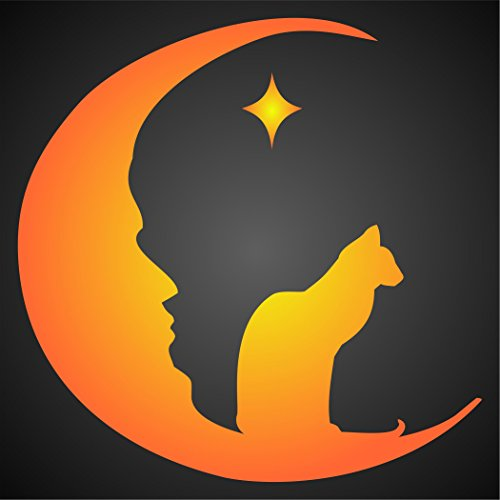 "Halloween Moon Cat Stencil - (size 8.5""w x 8.5""h) Reusable Wall Stencils for Painting & Holiday Projects - Use on Walls, Floors, Fabrics, Glass, Wood, and More… (Letter Designs For Halloween)"