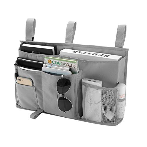Bseash 8 Pockets 600D Oxford Cloth Caddy Hanging Organizer Bedside Storage Bag for Bunk and Hospital Beds,Dorm Rooms Bed Rails (Gray) ()