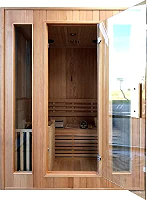 """Canadian Hemlock Wood Traditional Swedish 60"""" 2 or 3 Person Indoor Sauna Spa, with 6KW Wet or Dry Heater, Rocks, and Water Bucket"""