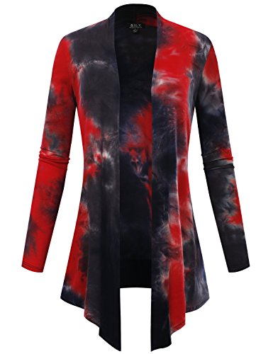 BH B.I.L.Y USA Women's Open Front Drape Hem Lightweight Cardigan Tie-Dye Red/Navy X-Large ()