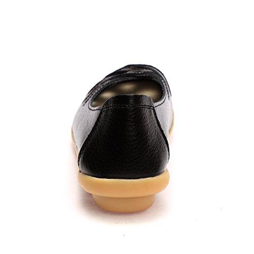 Wqinshoe Damesschoenen Met Lederen Instappers Glijden Op Moccasins Nonchalante Platte Schoenen Met Memory Foam Binnenzool Black-hollow Out