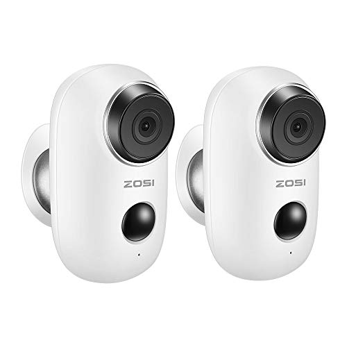 ZOSI 2PCS Home Security Camera System 100% Wire Free Rechargeable Battery Powered Camera Wireless IP Camera with PIR Motion Detection, Night Vision, Indoor/Outdoor, Two Way Audio for Baby/Pet Monitor