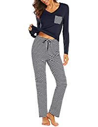 b20c925a77 Womens Pajama Set Striped Long Sleeve Top   Pants Sleepwear Pjs Sets