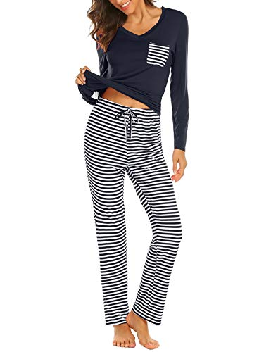Hotouch Women's Pajamas Set Long Sleeve Shirt and Long Pants Sleepwear Loungewear Navy Blue L
