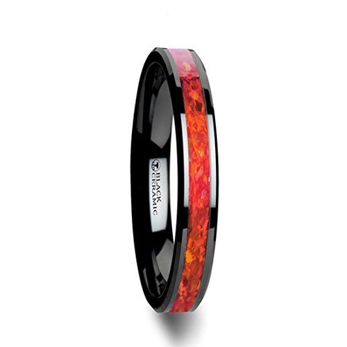 Thorsten NOVA Black Ceramic Wedding Band with Beveled Edges Ring and Red Opal Inlay - 4mm Wide with Free Custom Engraving Personalized from by Roy Rose Jewelry ()