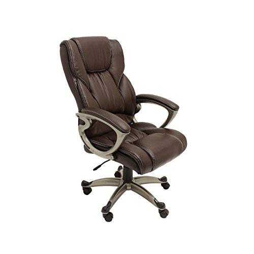 ALEKO ALC6121CF Executive PU Leather High Back Ergonomic Office Desk Chair Ergonomic Computer Home 20 x 27 Inch Back Brown