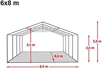 TOOLPORT Carpa de Fiesta 6x8 m Lona PVC 500/m² 100% Impermeable ...