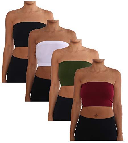AEKO Women's 3-Pack One Size Strapless Base Bra Layer Bandeau Seamless Tube Top (Plus Pack of 4) (Black-White-Burgundy-DkOlive)