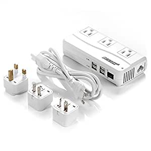 BESTEK Portable International Travel Voltage Converter 220V to 110V with Interchangeable Worldwide UK/US/AU/EU Plugs + 4 USB(6A Max) Charging Ports for iPhone, iPad, Samsung, Tablet