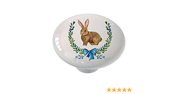 White rabbit head drawer knob door handle rustic country cottage home accessory