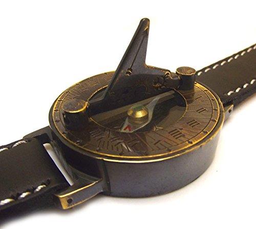 Steampunk Brass Sundial Compass Wrist Watch