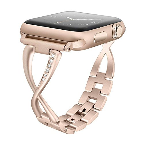 Aokon Bling Bands for Women Apple Watch Band 38mm Stainless Steel Metal Replacement Wristband Fashion Strap for Apple Watch Nike+, Series 3, Series 2, Series 1, Sport, Edition, Champagne Gold