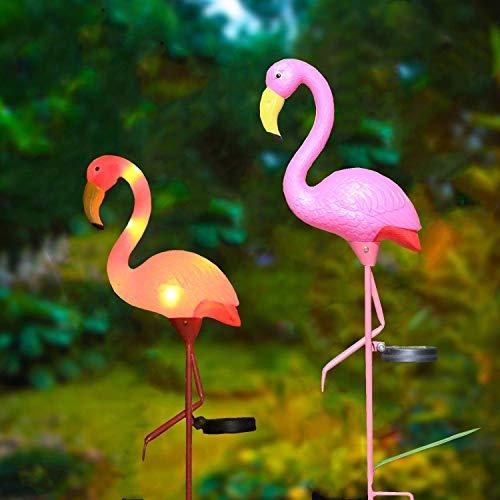 (W-DIAN Pink Flamingo Solar Lights Outdoor Pathway Metal Yard Art Plastic Patio Path Lawn Garden Outside Post Lighting 1 Pack Flamingo)