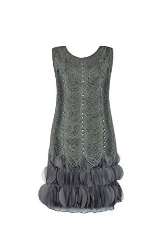 Adult Women's Fringed Flapper Dress with Crystals (X-Large, Gray) (Great Gatsby Daisy Dress)