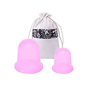 MEINAIER Anti Cellulite Vacuum Cups Silicone Cupping Set Medical Therapy Massage For Face & Body, Muscle Relaxation Anti-aging Wrinkle Cup( 2pcs / Set , Size L + Size M )