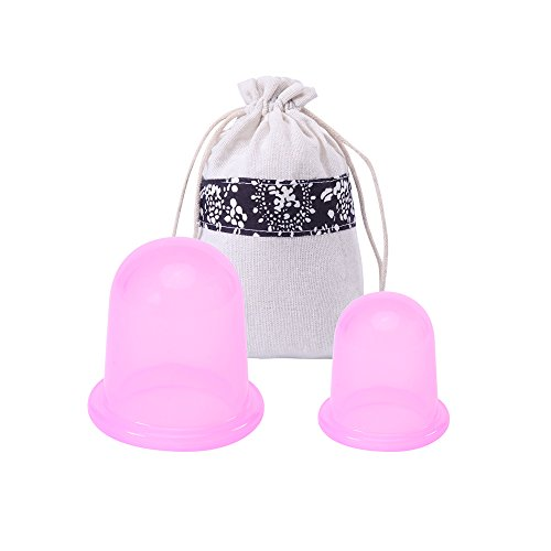 MEINAIER Anti Cellulite Vacuum Cups Silicone Cupping Set Medical Therapy Massage For Face & Body, Muscle Relaxation Anti-aging Wrinkle Cup( 2pcs / Set , Size L + Size M ) - Muscle Relaxation Therapy