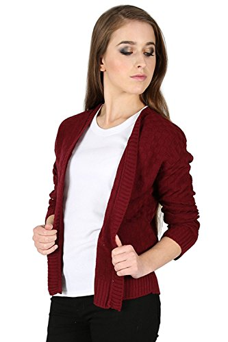 Oops Outlet Femmes Damier Tricot Maille Manches Longues Ouvert Front Cardigan Boléro Cache Épaules Grande Taille UK 8-22 - Bordeaux, Grande taille (EU 44/46)