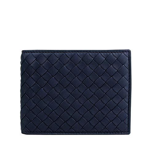 (Bottega Veneta Men's Intercciaco Blue Leather Woven Bifold Wallet 148324 4130 )
