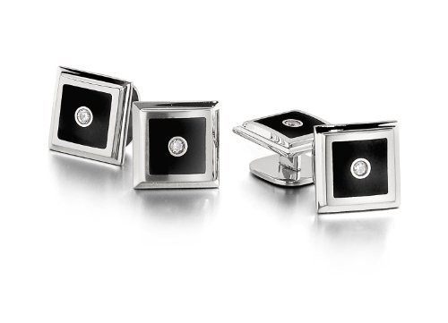 STEL Stainless Steel Black Enamel Diamond Tuxedo Stud Set ()